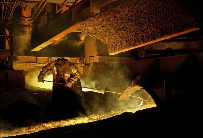 čištění žlabu, Třinecké železárny, Třinec, 08/2008